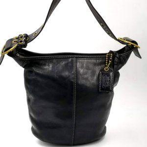 COACH BLEEKER BLACK LEATHER BUCKET CROSSBODY BAG